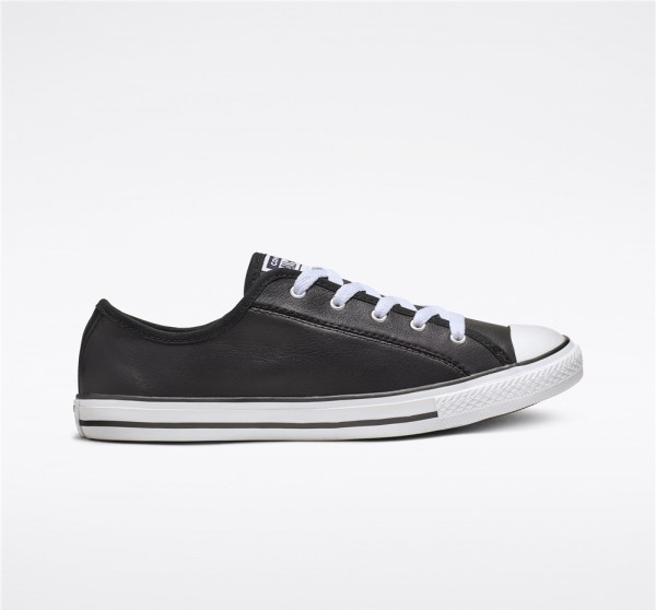 Converse Chuck Taylor All Star Dainty Leather Low Top - Black Women's Shoe 564985C