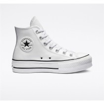 Converse Clean Leather Platform Chuck Taylor All Star High Top - White Women's Shoe 561676C