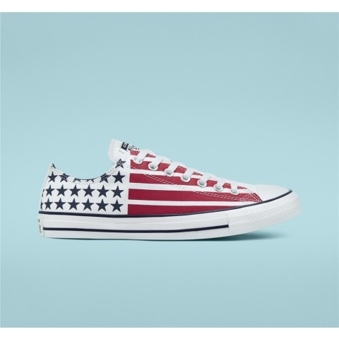 Converse Stars Stripes Chuck Taylor All Star Low Top - White Unisex Shoe 167838F