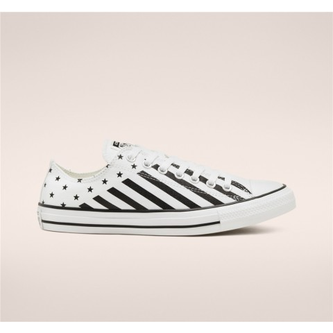 Converse Stars Stripes Chuck Taylor All Star Low Top - White Unisex Shoe 167837F