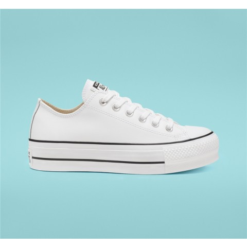 Converse Leather Platform Chuck Taylor All Star Low Top - White Women's Shoe 561680C